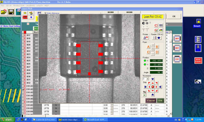 The vision system of the pick and place machine can recognize as small as 0402 footprint components