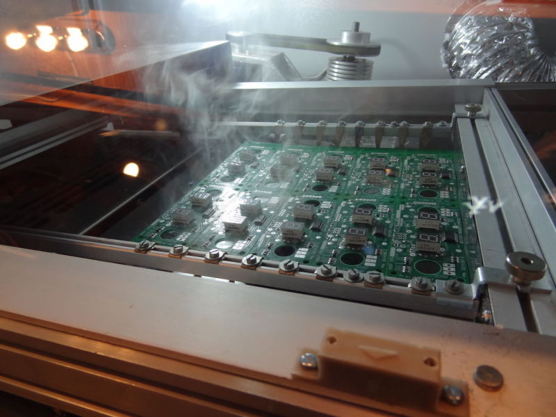 The wave solder machine is used to solder uniformly trough hole components