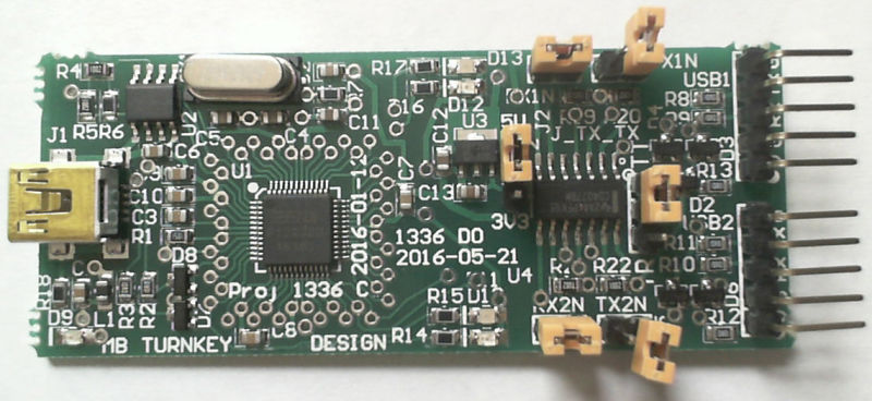 USB to 2x UART with phase shifting for debugging