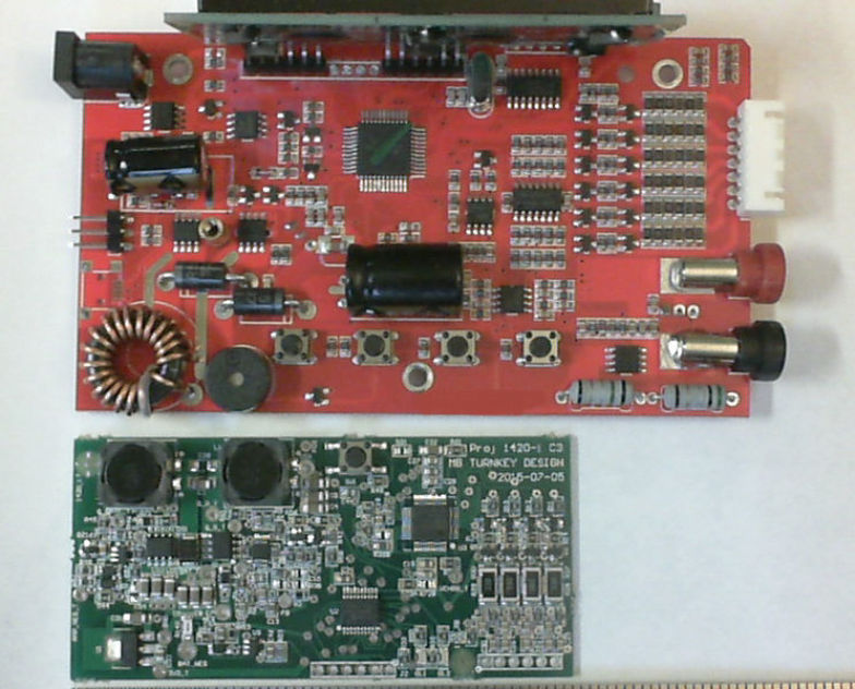 The more expensive competitor device is uses more components and larger PCB with the same performance